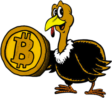 A drawing of a turkey holding a bitcoin
