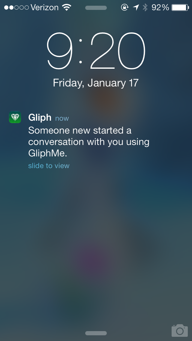 GliphMe - New Push message for a new Conversation