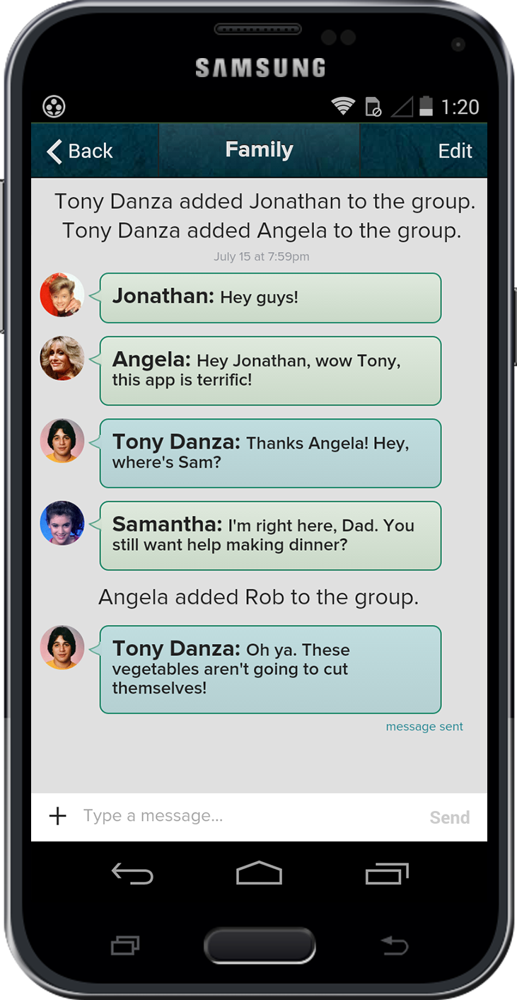 Screenshot of a secure group messaging conversation on Gliph's android app