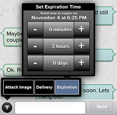 Set Text Message Expiration app secure delete